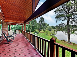 New Listing! Lakefront Log Home w/ Large Balcony